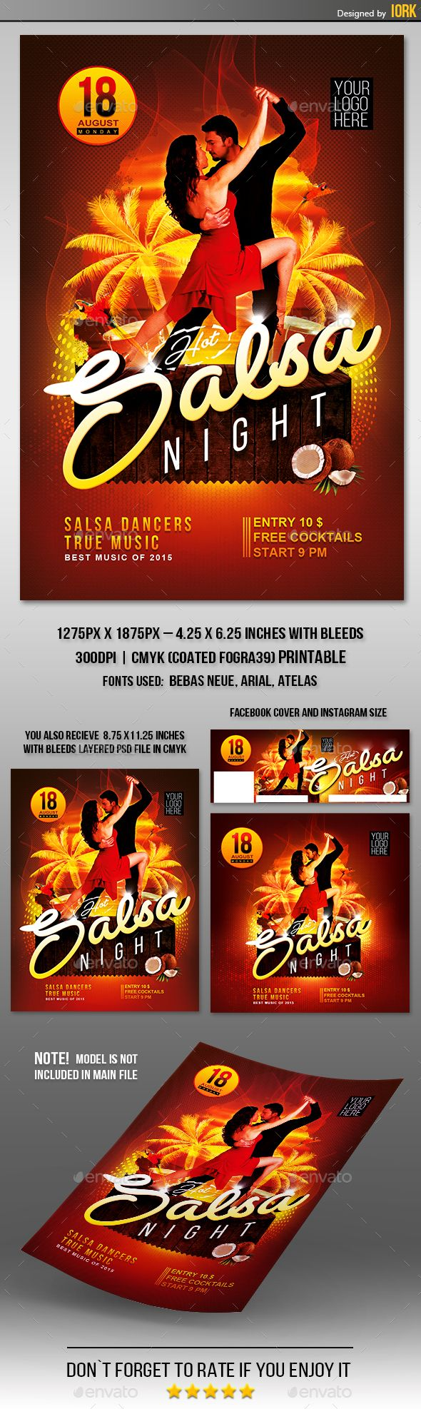 Hot Salsa #Night #flyer and poster - #Events Flyers Download here: https://graphicriver.net/item/hot-salsa-night-flyer-and-poster/19482983?ref=alena994