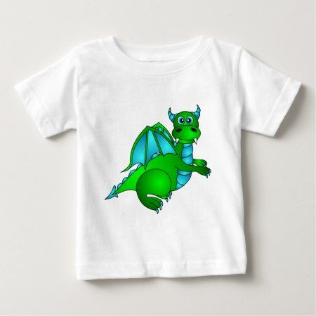 Twilight Flight - Cute Green & Blue Dragon Baby T-Shirt - click/tap to personalize and buy