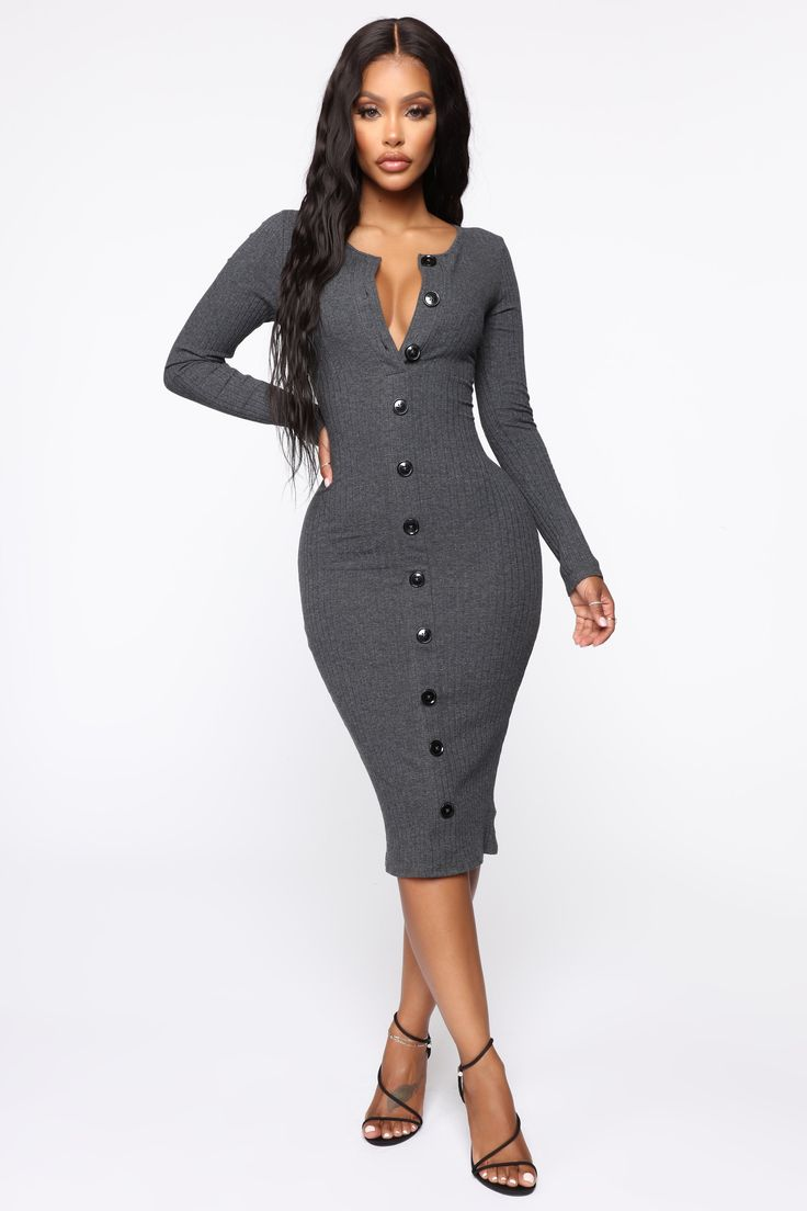 Don't Press Your Luck Ribbed Midi Dress – Charcoal