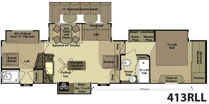 5th wheel 2 bathroom floor plans floorplan rvs for Rv with 2 master bedrooms