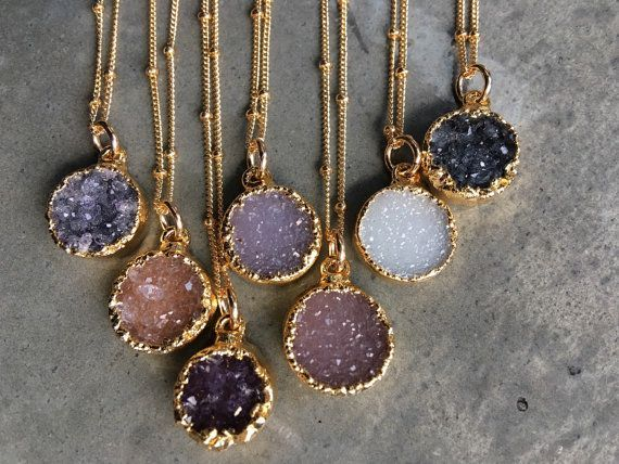 Natural Druzy Necklaces Druzy Jewelry Crystal Druzy by BijouLimon Women, Men and Kids Outfit Ideas on our website at 7ootd.com #ootd #7ootd