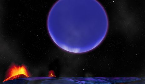 This image suggests how the newly discovered gaseous planet would look like from its nearby neighbor, a rocky, volcanic planet. (Illustration by David Aguilar, Harvard-Smithsonian Center for Astrophysics)