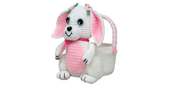 PDF Crochet Bunny Easter Basket Pattern - (7341) Td creations