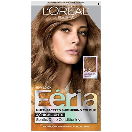 """L'Oreal Feria Hair Color, 63 """"Sparkling Amber"""" Light Golden Brown (Packaging May Vary)"""