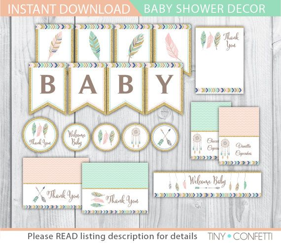 tribal baby shower decor printable, Tribal baby shower decor, boho baby shower printable, banner, favor tags, cupcake toppers, food labels