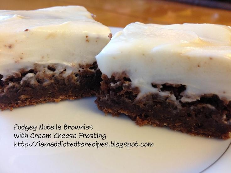 Fudgey Nutella Brownies with Cream Cheese IcingNutella Brownies, Cream Cheese Ice, Cream Chees Ice, Addict, Baking Recipe, Nutella Recipe, Fudgey Nutella, Baking Beautiful, Cream Cheeses