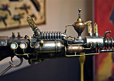 """A full-size ray gun--also known as """"Lord Cockswain's Ray Blunderbuss""""-- by prop-maker Weta"""