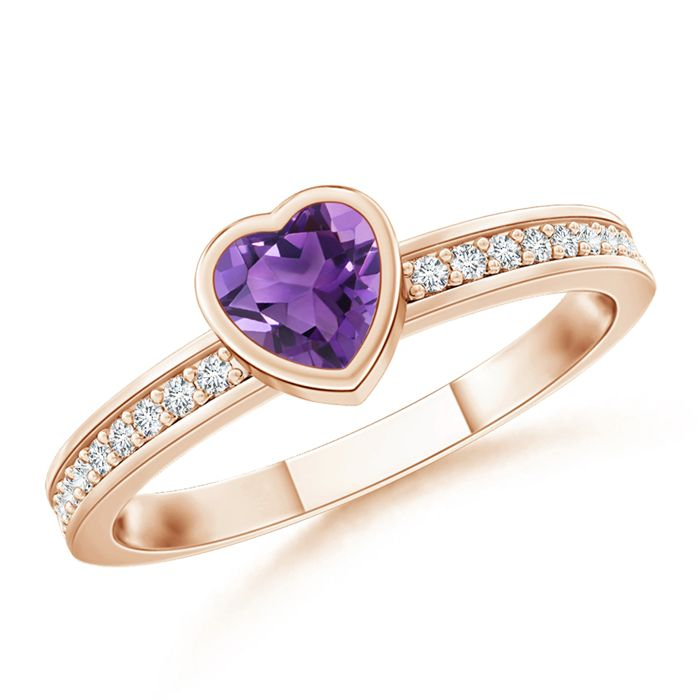 Angara Solitaire Amethyst Ring with Diamond in Yellow Gold jPl2a7