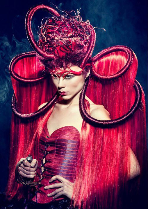 """inspired by the story of the four horsemen of the Apocalypse. To create these Avant Garde hairstyles I've used Balmain Hair products.  I really loved working with Balmain Hair.  Balmain Hair's the first choice of many session stylists all over the world, because of its versatility!""""  Hairstylist: Sanjay Ramcharan   Make-up Artist: Hanane Naji   Photographer: Richard Monsieurs   Stylist: Sanjay Ramcharan   Clothing: Sheguang Hu   Hair: Balmain Hair"""