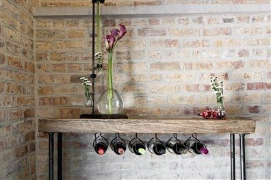 This rustic console table that also stores your wine. - https://www.facebook.com/different.solutions.page
