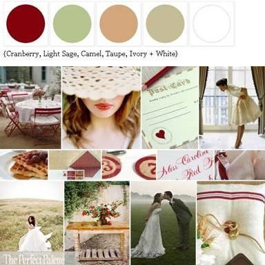 Cranberry, Light Sage, Camel, Taupe + White via The Perfect Palette xo