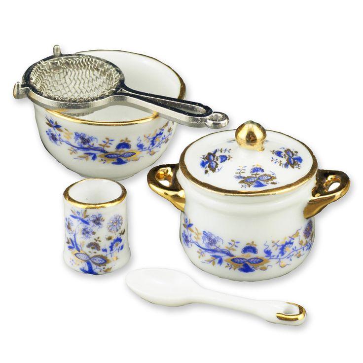 Blue Onion Cookware Set | Mary's Dollhouse Miniatures