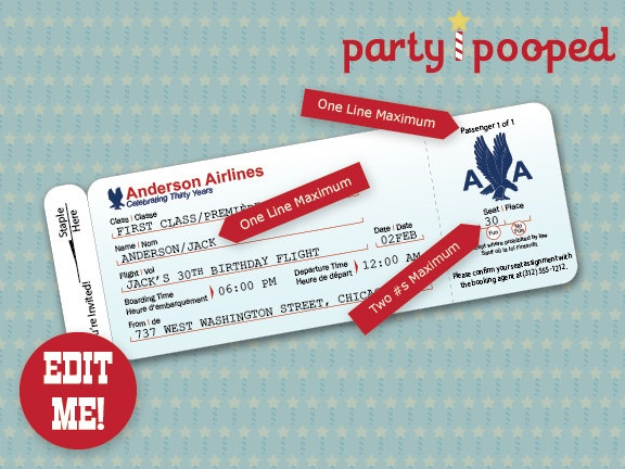 87 best Airplane party images on Pinterest Airplane party - airplane ticket invitations