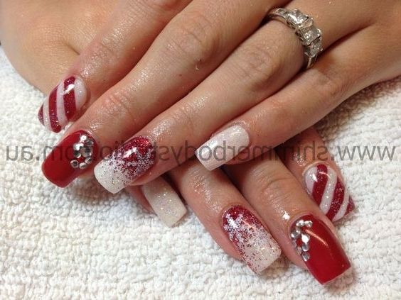 christmas gel nail designs | Nail Stiletto Art Designs likewise Gold Glitter Gel Nails Art Design ...