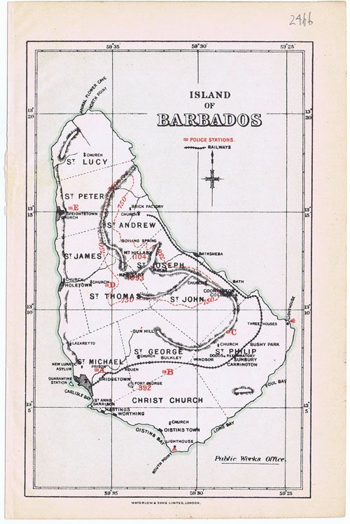 WATERLOW & SONS Map of the island of Barbados    Waterlow & sons (1891)  Coloured litho map showing police stations and railways.  http://www.pennymead.com/results.php?ct=4=289=s