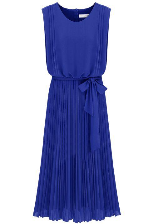 Blue Sleeveless Back Zipper Belt Pleated Dress US$24.10
