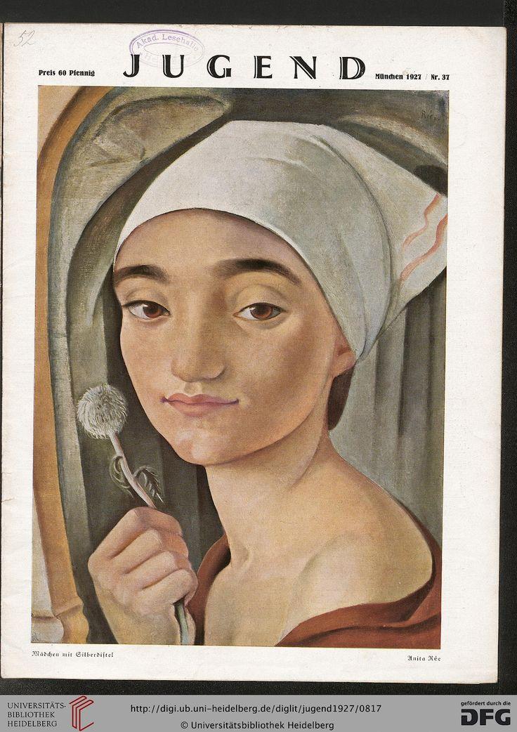 Anita Rée (German 1885-1933), Mädchen mit Gilberdiftel. From the cover of Jugend: Münchner illustrierte Wochenschrift für Kunst und Leben (32.1927)