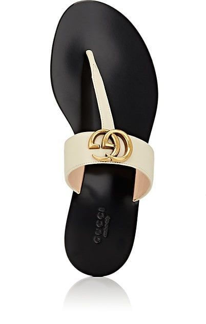 f2bf970c5 Gucci Marmont Leather Thong Sandals - Flats - 505428813