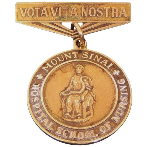 For sale is this 14k solid gold 1958 Mt. Sinai Hospital School of Nursing pin. The piece measures almost 1 1/2 long and weighs 8.4 grams. It has an