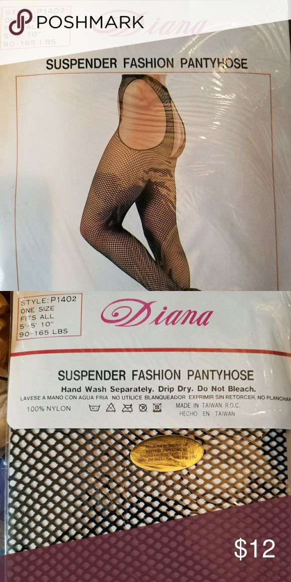 """Diana Suspender Fashion Fish Net Pantyhose Brand new in package.  One Size fits most 5' to 5' 10"""" 90 lbs to 165 lbs Color Black Silky smooth 100% Nylon Diana Accessories Hosiery & Socks"""