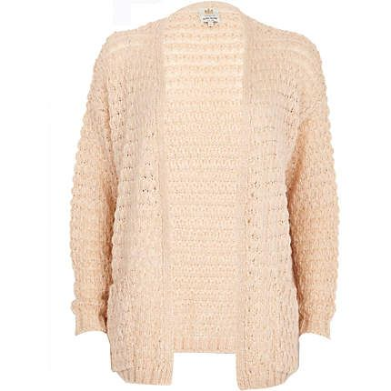 Light pink bobble stitch unfastened cardigan - cardigans - knitwear - women
