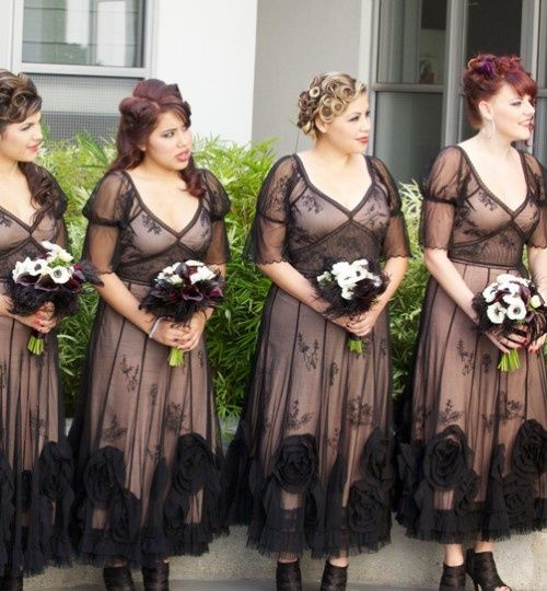 even if these bridesmaids dresses were for a halloween wedding i think they would be great for a vintage too and even in another color overlay. i just love these...