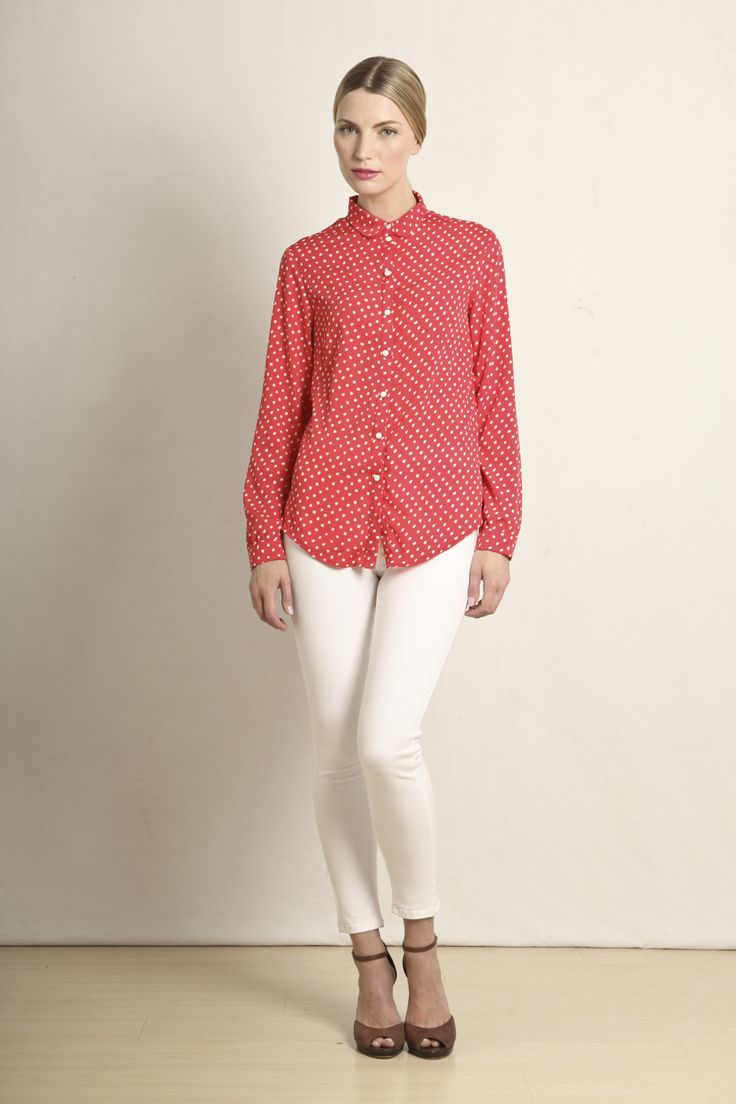 Audrey shirt in red polka dot  GB208-RED  R460.00  www.georgieb.com