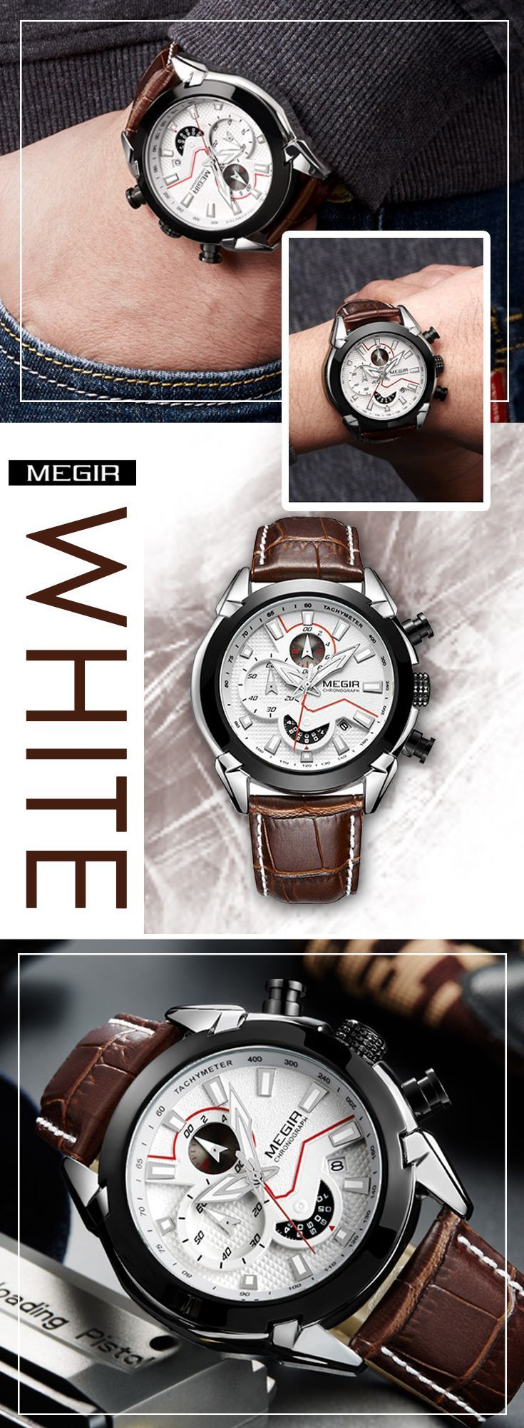 Men's luxury sport watches - Megir 2065 Leather band watch timepiece chronograph - men's top brand style affordable fashion accessories #menswatch #leatherwatch #watches #menswatchesleather