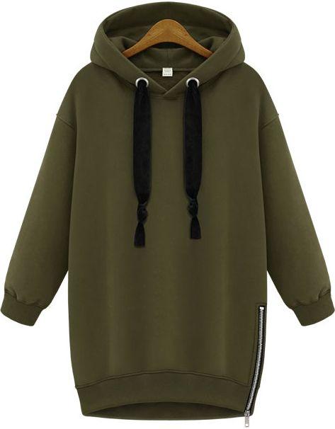 Green Hooded Long Sleeve Zipper Loose Sweatshirt - abaday.com
