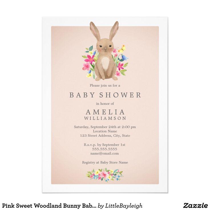 Pink Sweet Woodland Bunny Baby Shower Invitation