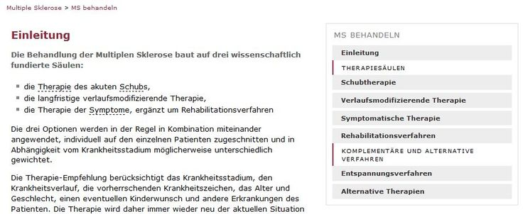 Multiple Sklerose behandeln. Therapiemöglichkeiten bei MS.
