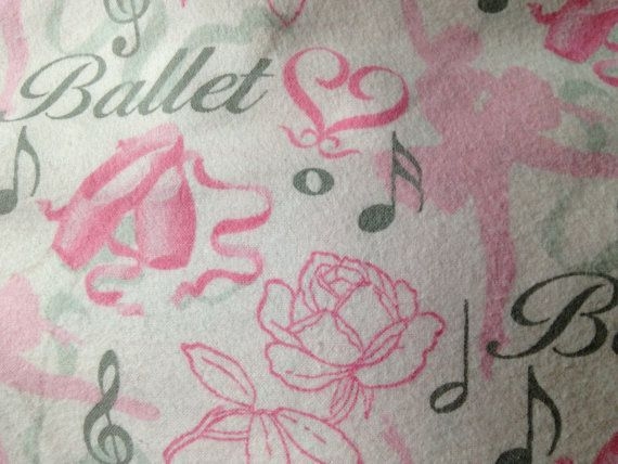 New Ballet Ballerina Flannel Fabric one 1 yard pink gray ...