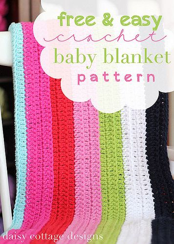 crochet pattern by Daisy Cottage Designs, free and easy crochet baby blanket