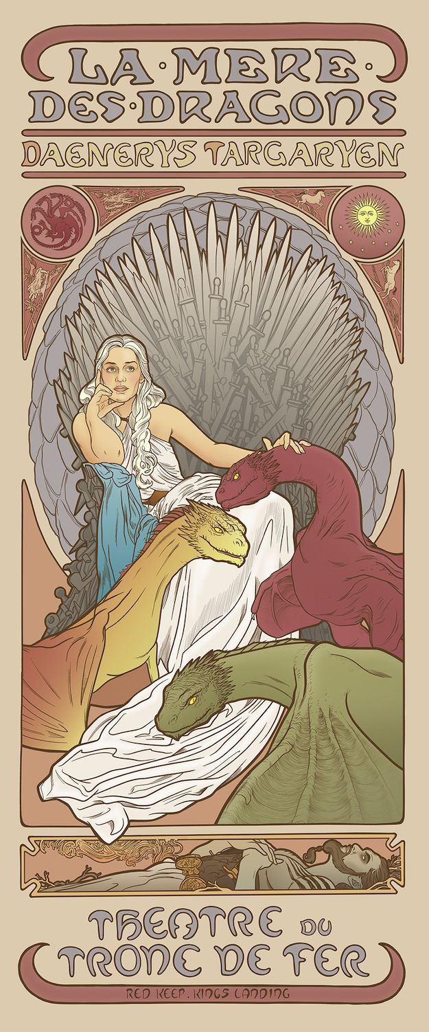 """Game Of Thrones"" Ladies As The Art Nouveau Goddesses We Always Knew They Were. ""Daenerys Targaryen""."