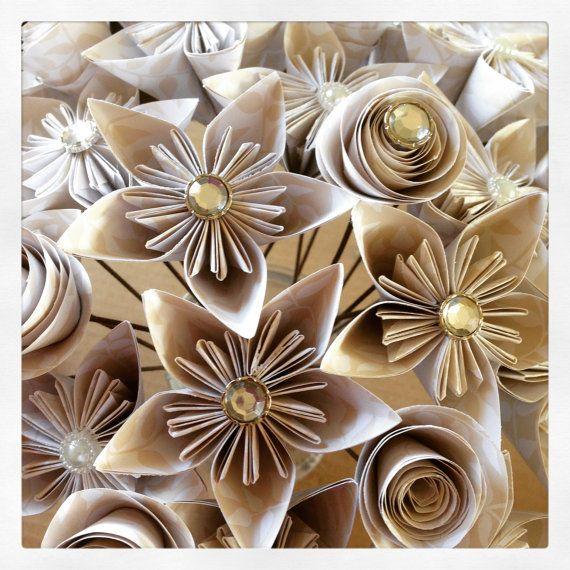 Pretty Paper Flower Bridal Bouqets by ArtByReharn on Etsy