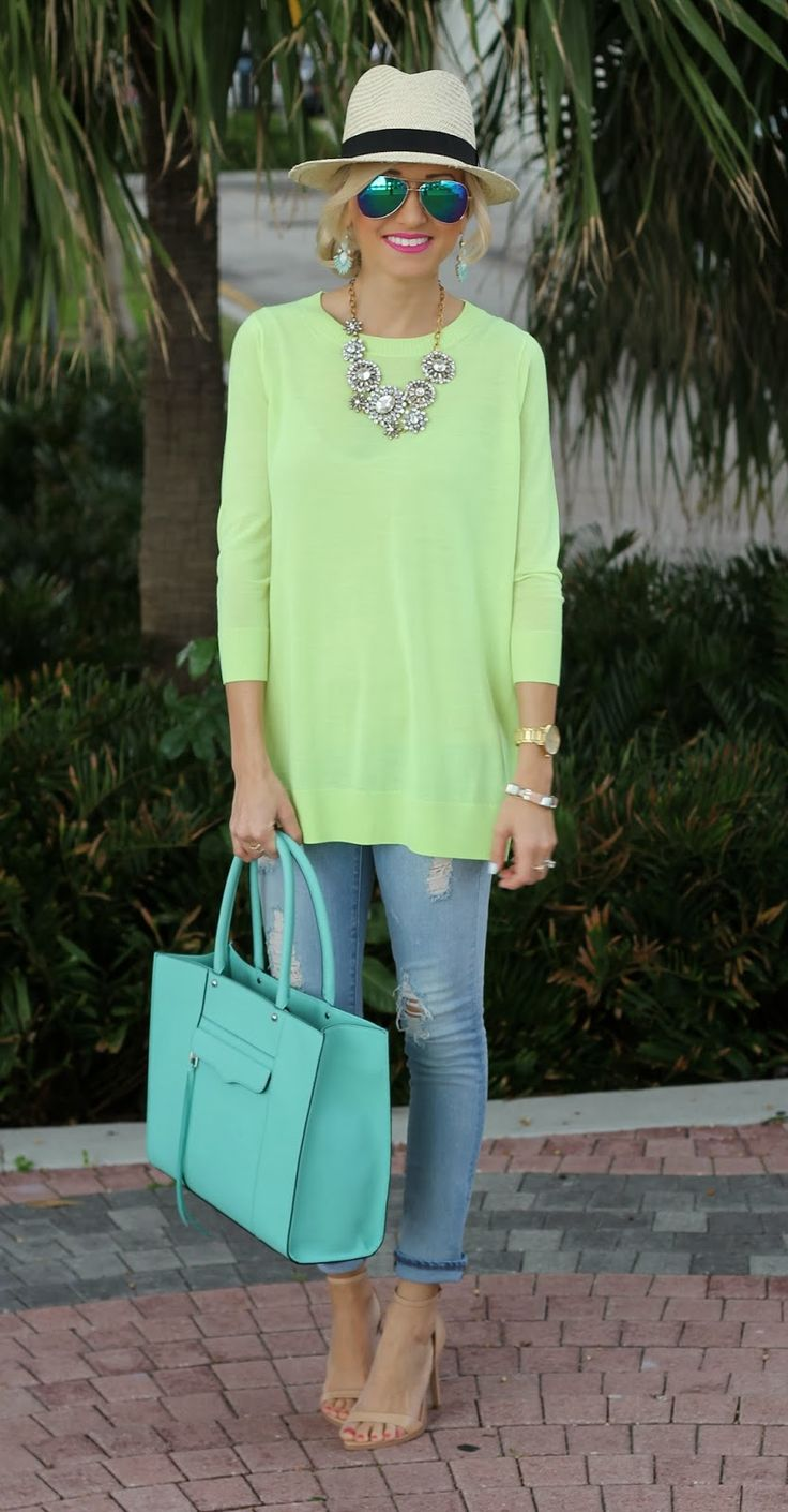 Lime tunic + distressed jeans + nude heels + statement necklace