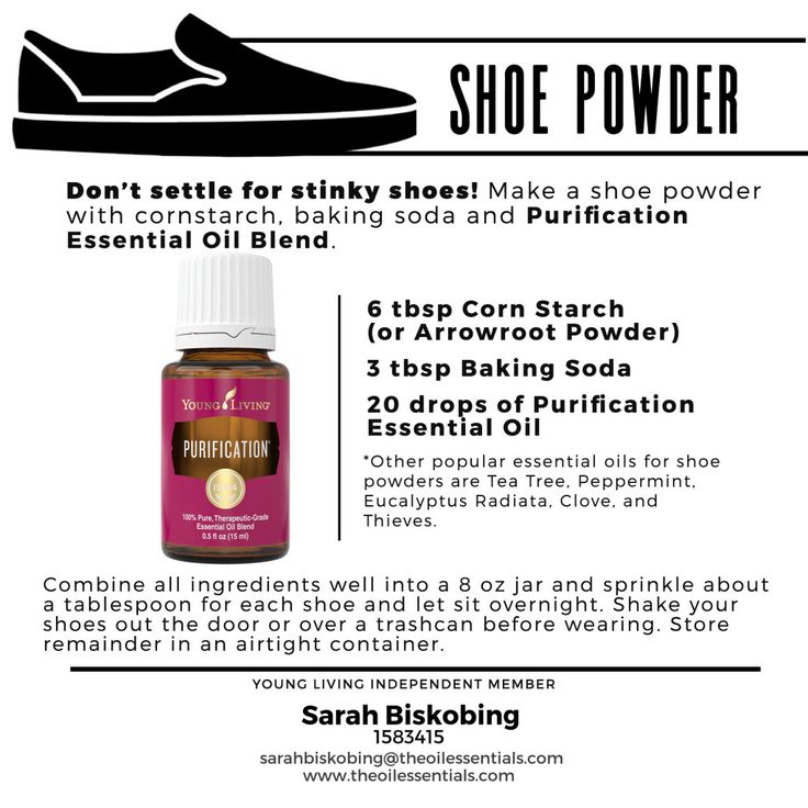 Essential Oils for Dudes - Use corn starch, baking soda, and Purification essential oil to make a homemade shoe powder – because you shouldn't settle for stinky shoes.
