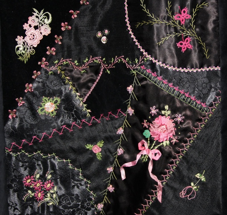 crazy quilting . . . Black on Black Crazy Quilt- I found this crazy quilt to be a bit of a challenge because I am a perfectionist and like all my stitches to be perfect! Many of you know that I LOVE to use templates of any kind to help me, so marking it was a challenge but I figured it out.