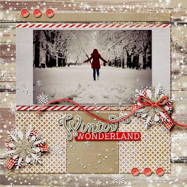 """** """"Winter Wonderland"""" Scrapbook Layout @isamarks"""