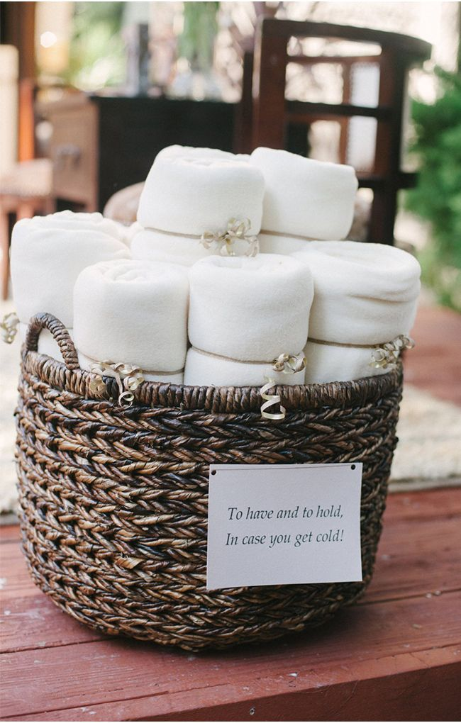 Offering cozy blankets to your guests for outdoor weddings | A San Luis Obispo Wedding by Jaime and Chase Photography