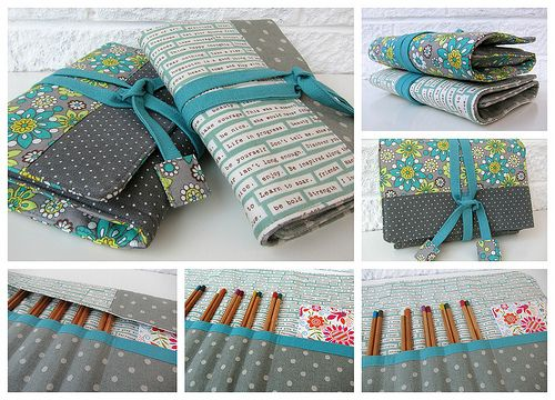 DIY | Sewing Pattern - Cute hook or art bag / roll / wrap / case / organizer for your crochet needles or other items like pens, make-up brushes, pencils, etc.