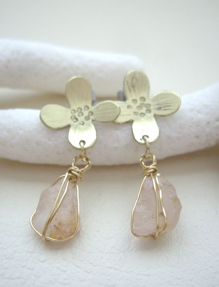 raw rose quartz brass hypoallergenic post