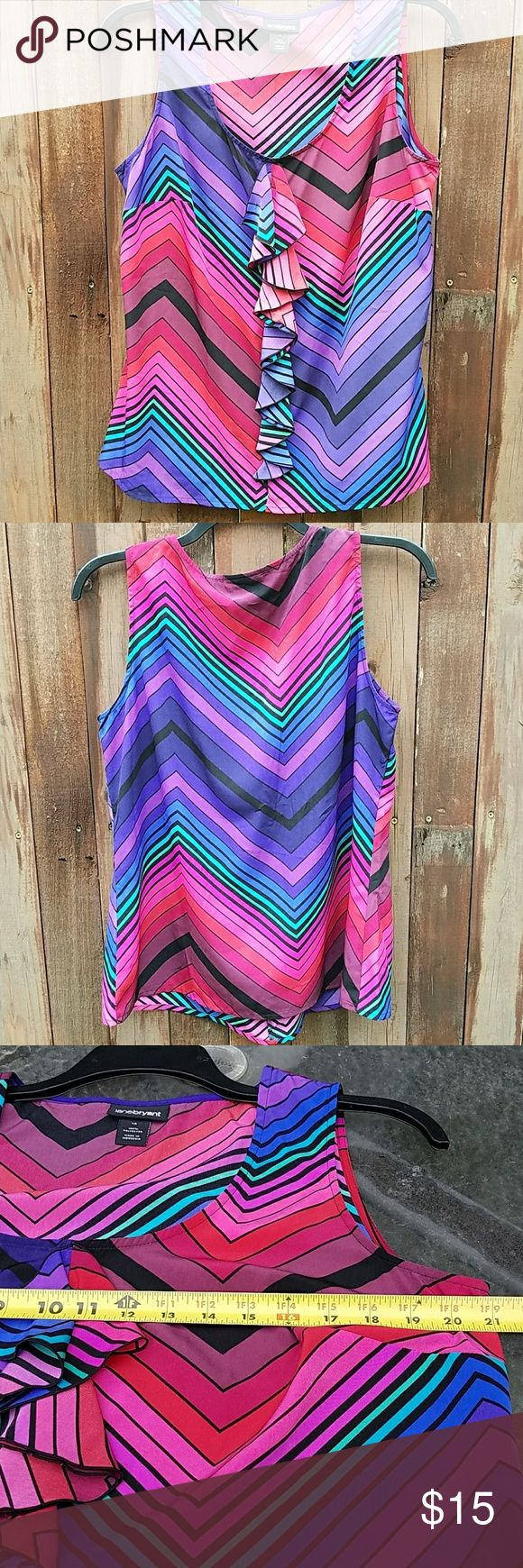 Lane Bryant top Multi color Lane Bryant sleevless top with ruffled design in the center of blouse. Measurements in pics Lane Bryant Tops Blouses