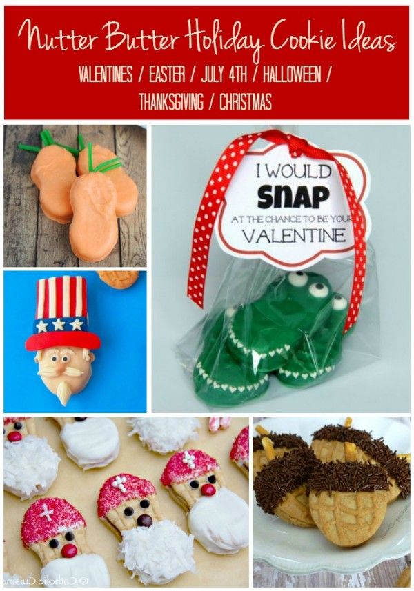 """Nutter Butter Cookie Decorating Ideas for Every Major Holiday"" -- Includes links to at least three ideas for each of Valentine's Day, Easter, 4th of July, Halloween, Thanksgiving, and Christmas holidays. [NOTE: Despite what it says, you must click on the page numbers below both the ads and her bio at the end of the article to advance to the next page.]"