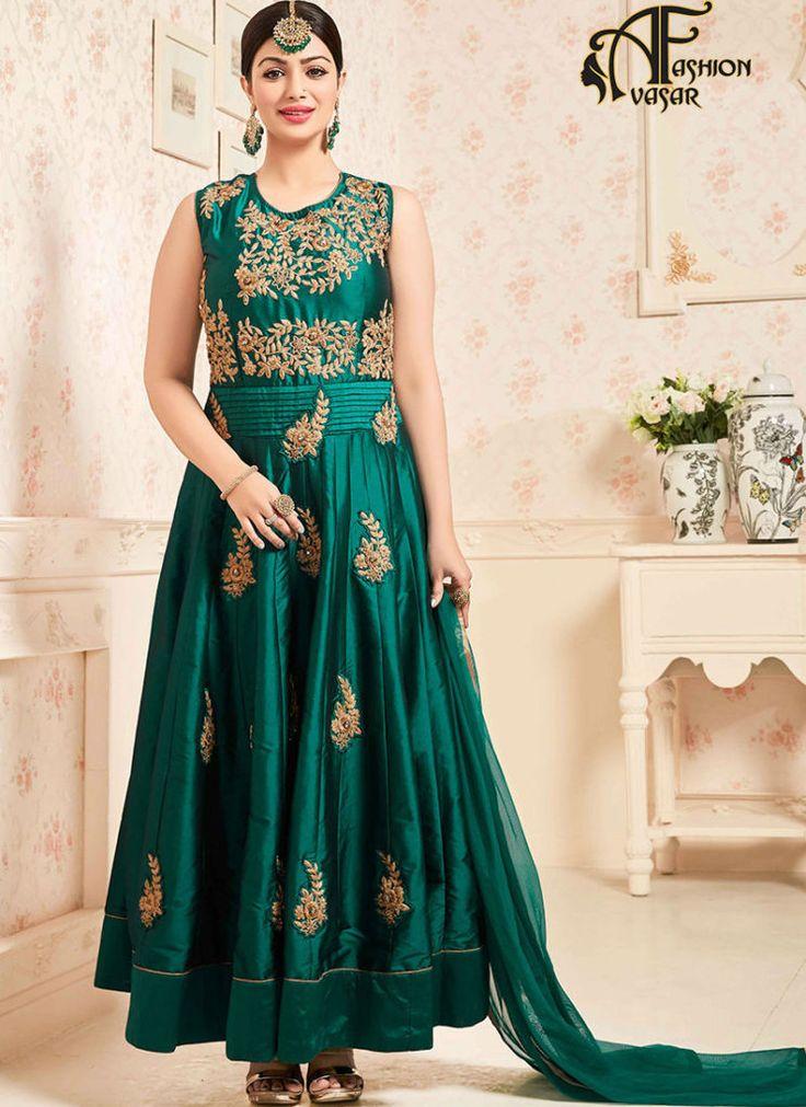 Anarkali salwar kameez online india – Silk green buy salwar suit online