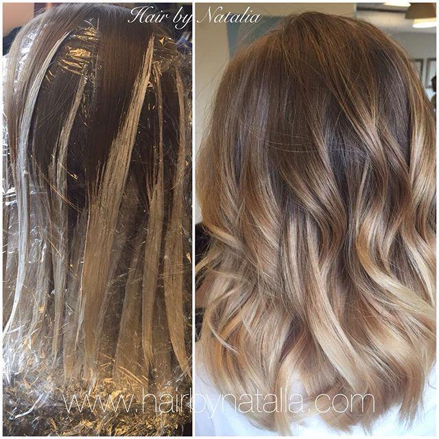 Balayage hair painting on mid length hair.  Balayage in Denver, Balayage…
