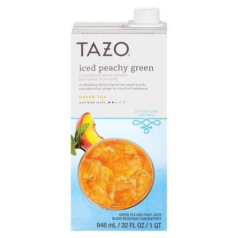 YUM!  This is the liquid concentrate that I have had and it was fantastic!  Either with water or lemonade, it tastes EXACTLY like Starbucks Peach Green Tea Lemonade.   Tazo Iced Peachy Green Tea Concentrate 32 oz