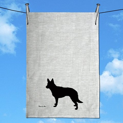 Australian Kelpie Tea Towel by Paloma Le Sage Handprinted