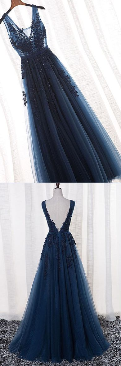 Navy Blue A-Line V-Neck Tulle Long Prom Dress With Appliques 0859