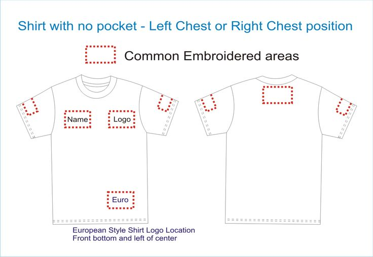 T shirt placement guide website has more placement guides for Embroidery placement on t shirts